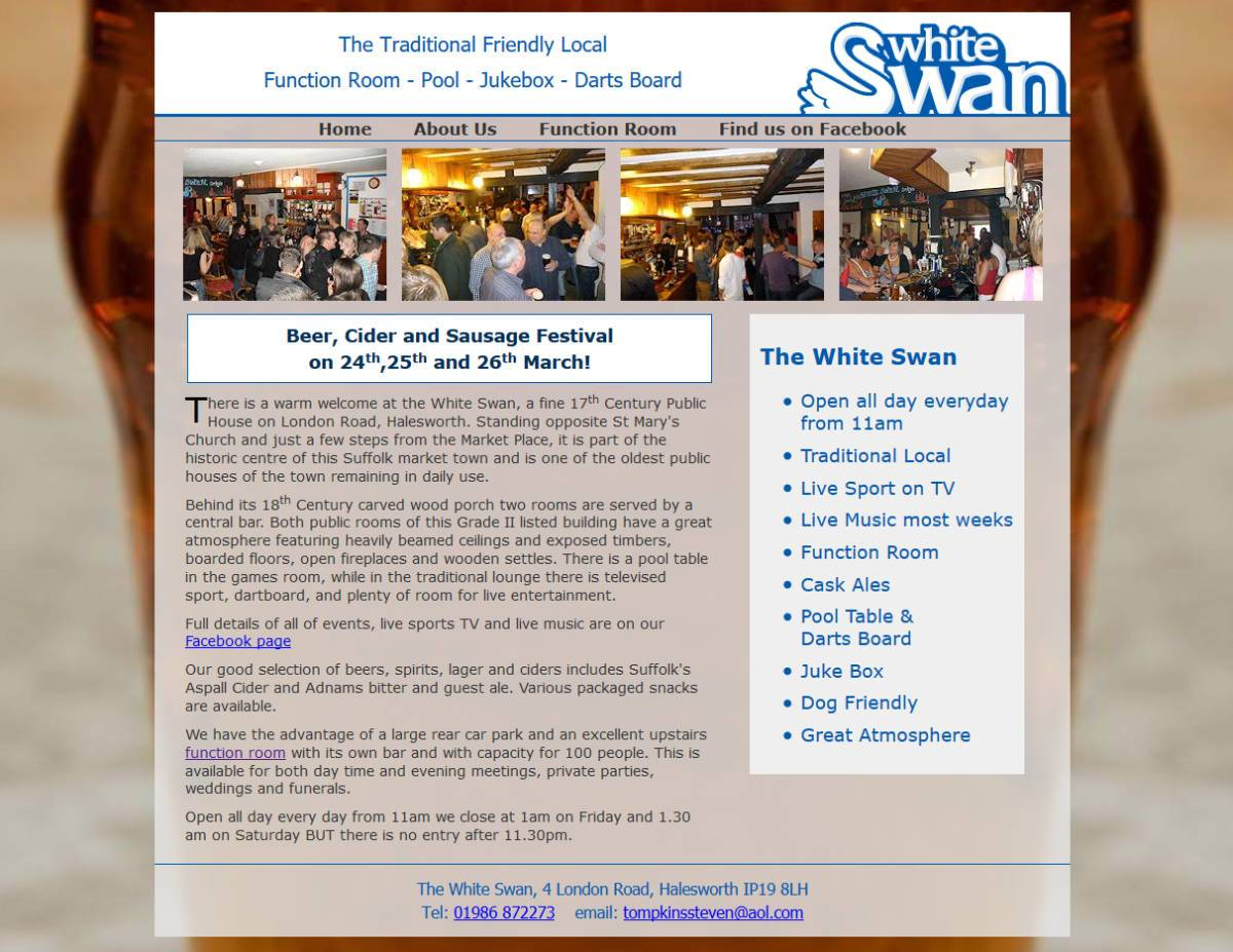 White Swan, Halesworth: Programming and Hosting